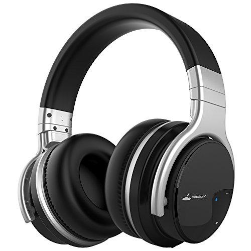 Meidong E7B Bluetooth Kopfhörer mit Mikrofon, HiFi Deep Bass Drahtloser Kopfhörer, Ohrmuscheln-bedeckend, mit Protein-Pads, 30 Stunden Spielzeit für Reisen, Arbeit, TV, Computer – schwarz