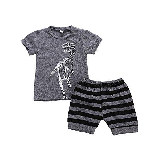 Anywow 2 stücke Kinder Kleinkind Kleine Jungen Dinosaurier Gedruckt Tops T-Shirt Passenden Kurze Hose Kleidung Set (Kleinkind Big-brother-shirt 3t)