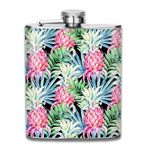 Aquarell Rosa Ananas Muster Premium 304 Edelstahl Flachmann Personalisierte Flasche Großes Geschenk, 7 Oz (Personalisierte Flasche Rosa)