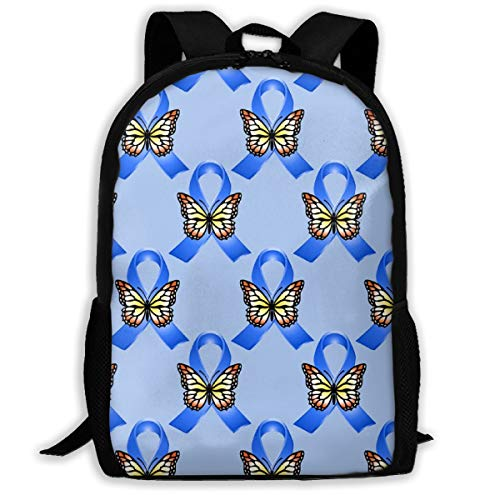 Proud Clothing Royal Blue Ribbons and Butterflies On Blue Adult Travel Backpack School Casual Daypack Oxford Outdoor Laptop Bag College Computer Shoulder Bags 16.9x11x6.3 inch