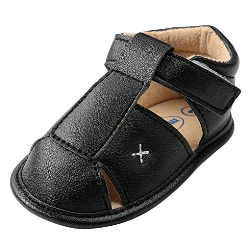 EnjoCho_Shoes Infant Baby Boys Girls Pu Leather Soft Sole Anti Slip Sandals First Walkers Sneakers Age:18~24 Month Black