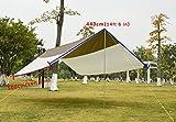 GEERTOP Sonnensegel Tarp Außenzelt Wasserdicht 5 - 8 Personen für Camping - 500x440 cm (2,9 kg) - Inklusiv Zeltstangen - Grau -