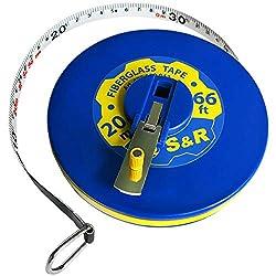 S&R Bandmaß Fiberglas 20m / 66 Ft, Breite 13mm, Rollmeter METER und ZOLL doppel Seiten markiert, Rollmaßband 20 m Maßmeter Kapselbandmass