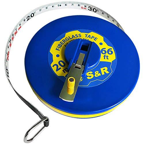 S&R Bandmaß Fiberglas 20m / 66 Ft, Breite 13mm, Rollmeter METER und ZOLL doppel Seiten markiert, Rollmaßband 20 m Maßmeter Kapselbandmass (30 M Maßband)