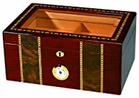 Quality Importers Pompeii 100 Cigar Glasstop Humidor, Cherry