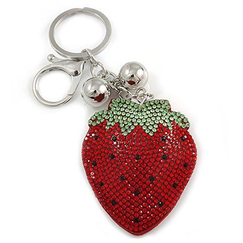 rot/grün/schwarz Crystal Schlüsselring Erdbeere/Tasche Charme in Silber Ton Metall-11cm L ()