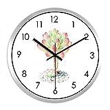 XPY-wall clock Wanduhr Silent Home Decoration Glasspiegel, 14 Zoll,schwarzer Nadel Silberrahmen