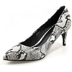 Frühling und Sommer wies Schuhe/Asakuchi, gefolgt von metallischen Schuhe/Weibliche Füße Schuhe-weiß Fußlänge=22.3CM(8.8Inch)