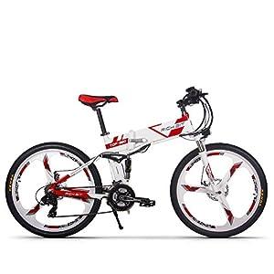 Jimai Rt-860 Mans Vélo électrique pliable, hybride de montagne VTT Vélo double Suspension, 250 W 36 V 21 vitesses, avec pied Vélo Pompe à air, d'un ensemble d'outils, une pièce Outil de montage et Smart ordinateur de vélo Compteur de vitesse