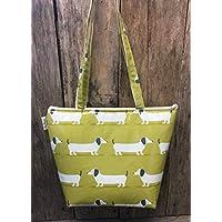 Tote bag,shopping bag,hand bag,book bag,school bag,lime green dachshund oilcloth