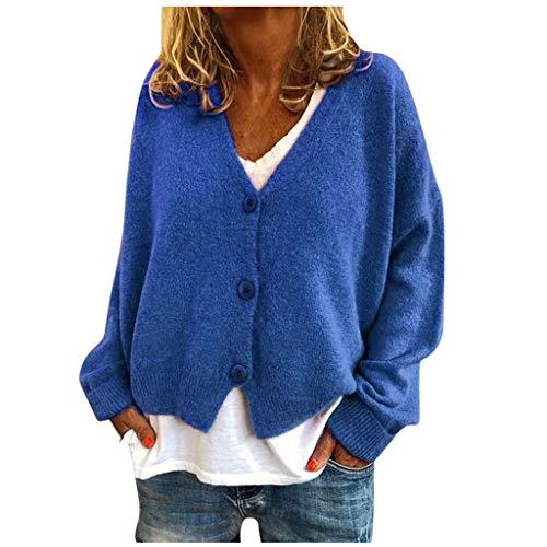 TEFIIR Damen Pullover V-Ausschnitt Langarm Einfarbig Shirt Oberteile mit Taste Hemd Sweatshirt Tops Strickpullover Pulli Bluse Beiläufige Beiläufig Sweatershirt