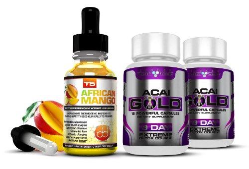 Biogen Health Science Complete Detox & Appetite Suppressant Bundle: T5 African Mango Drops & Acai Gold Pills (1 Month Supply)