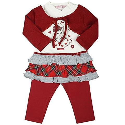 Kinder Baby Mädchen Kleidung Geschenk Paket Set 3 tlg Kleid Bolero Leggings 20332, Farbe:Rot;Größe:18 Monate