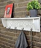 Livitat® Wandgarderobe ROMANTIK Flurgarderobe Garderobe Hakenleiste Weiß Landhaus LV6016 (B80 x H21 x T14 cm)