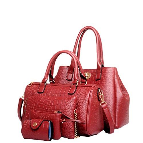 Kairuun Damen Handtasche 5Pcs Mode Krokodil-Muster PU Leder Schultertasche+Umhängetasche+Handtasche+Brieftasche