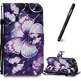 Slynmax Schutzhülle Galaxy S4 Tasche Leder Schmetterling 3D Kreativ Stand Hülle Wallet Case Handyhülle Kompatibel mit Samsung Galaxy S4 Ledertasche Klapphülle Flip CoverLederhülle Kartenfächer (Lila)