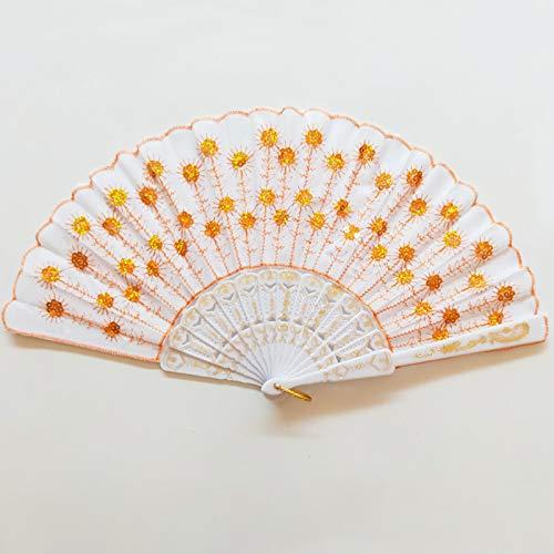 Fan Home Mode chinesische antike 2019 Neue gestickte Pailletten Fan Farbe pfau schwanzfeder ()