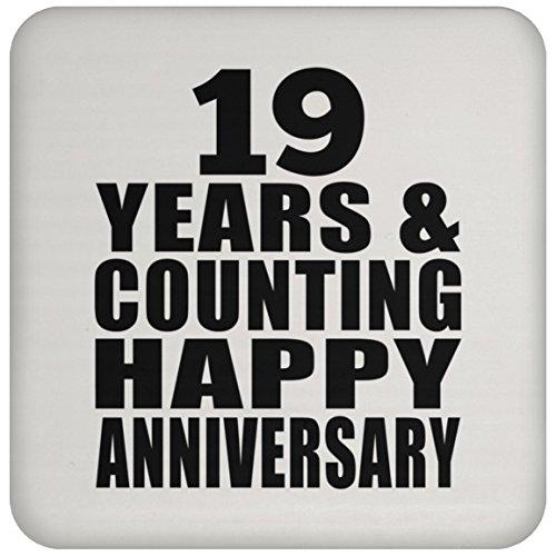 Happy 19th Anniversary 19 Years & Counting - Drink Coaster Untersetzer Rutschfest Rückseite aus Kork - Geschenk zum Geburtstag Jahrestag Muttertag Vatertag Ostern