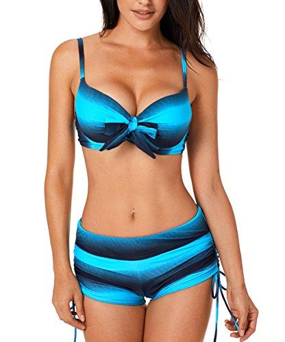 size 40 24089 3095d Aleumdr Donne Push Up con Pantaloncino Costume da Bagno da Donna Tie-Dye  Costumi Donna Mare Due Pezzi Bikini Pantaloncino con Farfalla, Blu