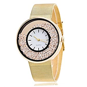ZODOF Reloj de Pulsera de Cuarzo de Las Mujeres de Moda Reloj de Pulsera de Las Mujeres Blancas Rhinestone de Acero Inoxidable