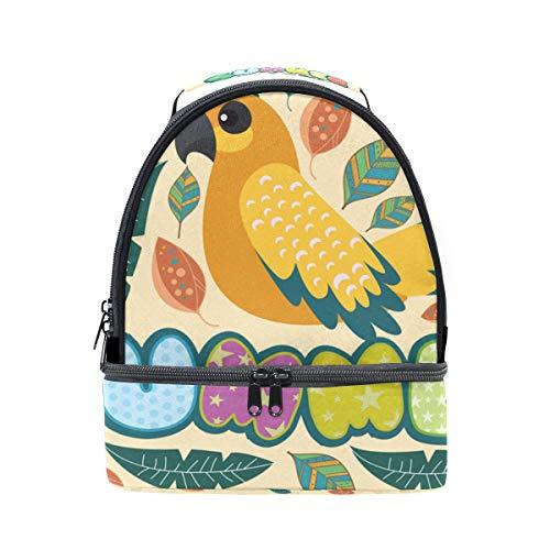 (folpply Hello Summer Birds mit Blütenmuster Lunch Bag Isolierte Kühler Tote Box mit verstellbarem Schultergurt für pincnic Schule)