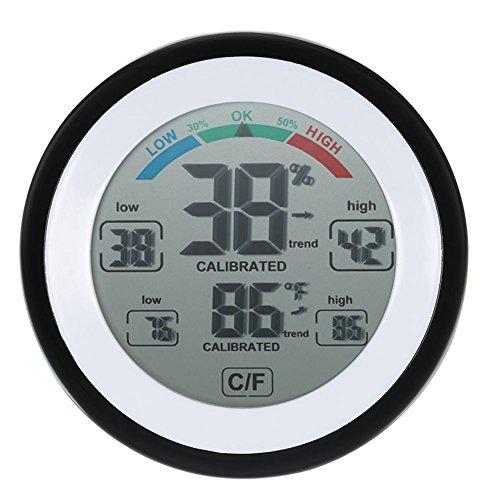 Moligh doll Digital LCD Anzeige Innenthermometer Hygrometer runde drahtlose elektronische Temperatur Feuchtigkeits Meter Wetterstation Pruefvorrichtung schwarz -