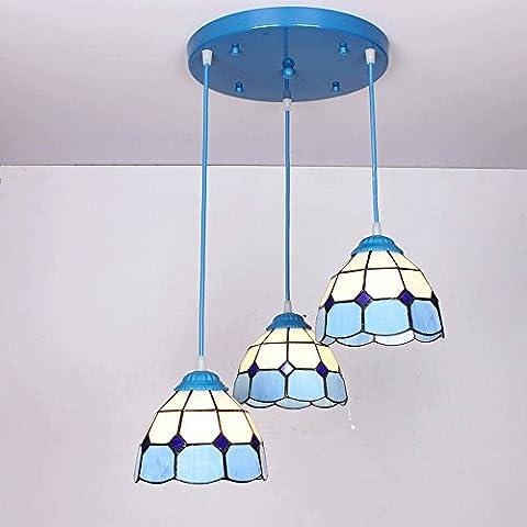 SJMM Restaurant, restaurant jardin de style européen, trois lampes de table, personnalité créatrice bar, tête simple petit lustre,B disc [blue]