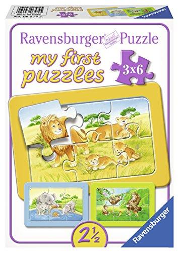 Ravensburger 06574 - My First Puzzle 3x6 Pezzi, Scimmie, Elefanti e Leoni