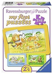 Ravensburger 06574 My First Puzzles - Puzle infantil con marco (3 x 6 piezas), diseño de mono, elefante y león