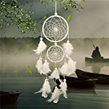 SNNplapla White Dream Catcher Circular With Feathers Wall Hanging Decoration Decor Craft
