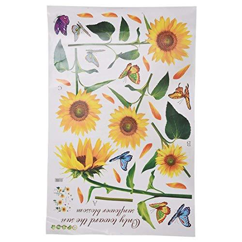 Sonnenschein Sonnenblume Schmetterling Tanzen im Sommer Schoene entfernbare Wand-Aufkleber DIY Kinderzimmer Dekor Aufkleber LM858 (90 * 60cm)