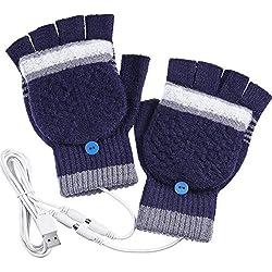 Blulu Gants Chauffants USB pour Hommes Femmes, Mitaines Gants Chauds d'hiver pour Mains, Gants Chauffants d'Hiver pour Mains Laine Plus Chaude (Marine)