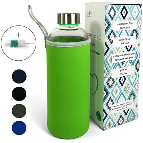 Wenburg Trinkflasche/Glasflasche mit Edelstahl Deckel Wolton 750 ml Neopren Hülle. Sportflasche/Wasserflasche aus Glas. Für Unterwegs (grün, 0,75 l)
