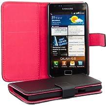Elegante e pratica CUSTODIA PORTAFOGLIO con porta-carte di credito e porta-biglietti da visita per Samsung Galaxy S2 i9100 / S2 PLUS i9105 in Nero firmata kwmobile
