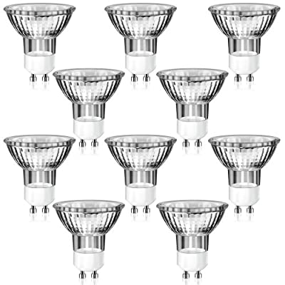 10er Set GU10 Halogen Strahler in MR16-Bauform (warm-weiß, 230 Volt AC, 25 Watt, Lampe, Leuchtmittel, Haushaltspack, 230V, 25W)