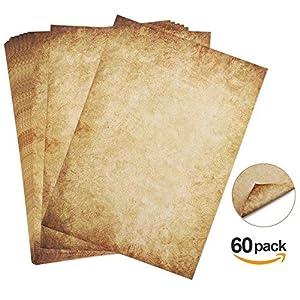 60 hojas Papel con diseño de papel antiguo Carta Pergamino Vintage Din A4 100g/m² Absofine DIY 1