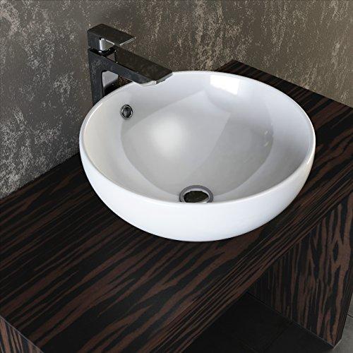 VILSTEIN© Keramik Waschbecken Aufsatz-Waschbecken Aufsatz-Waschschale Waschtisch rund weiss 42 cm