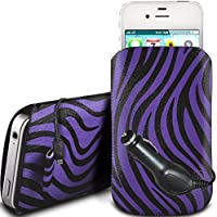 N4U Online - LG L30 Schutz PU-Leder Zebra-Entwurf Zuglasche Cord Schlupf in Hülle Tasche mit Quick Release und CE Auto Ladegerät - Lila