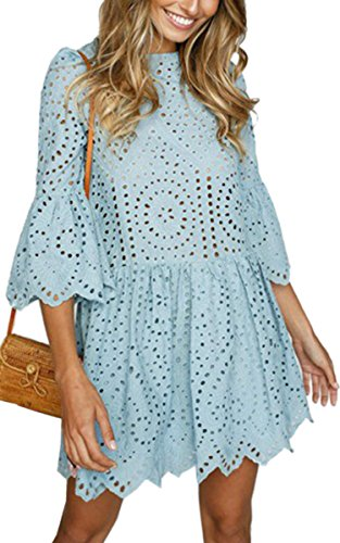 Angashion Women's Dresses-Elegant Lace Half Flare Sleeves Hollow Out A Line Mini Skater Dress Blue XL