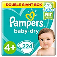 Pampers Baby-Dry Diapers, Size 4+, Maxi+, 10-15kg, Double Giant Box, 224 Count