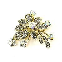 Glamorousky Elegant Flower Brooch with Silver Austrian Element Crystal (429)
