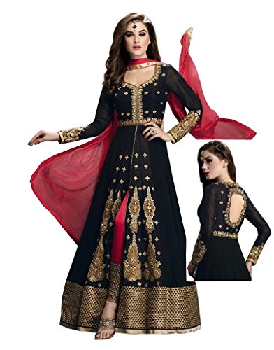 Radhey Arts Black silk embroidered semistitched salwar with dupatta