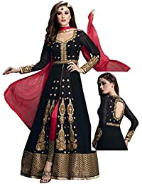 Radhey Arts Black silk embroidered semistitched salwar with dupatta