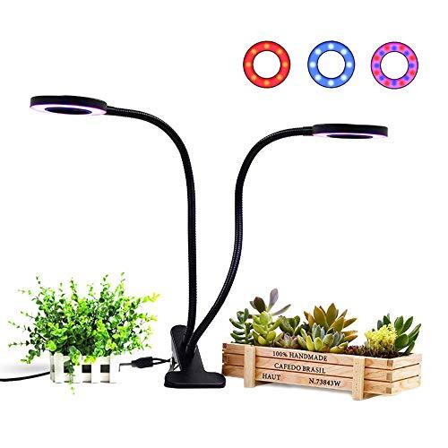 BF-DCGUN Doppelkopf-Clip-Pflanzenlampe für Zimmerpflanzen Cycle-Timer-Funktion mit 36   LED-18W-LED-Pflanzenlicht 3 Arbeitsmodi 5 dimmbare Ebenen für das Anbau von Gewächshaus