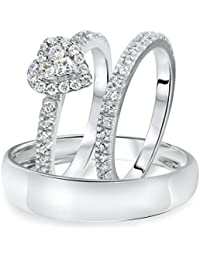Silvernshine 1/4 Carat T.W. Diamond Halo Heart Trio Matching Wedding Ring Set 10K White Gold Fn