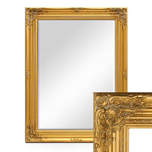 PHOTOLINI Wand-Spiegel im Barock-Rahmen Antik Gold mit Facettenschliff 64x84 cm/Spiegelfläche 50x70...