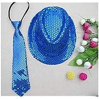 LridSu Hermoso Lazo de Lentejuelas Flaco Tejido de Microfibra Corbata para Boy's Kids (Azul)