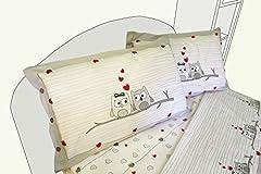 Idea Regalo - Completo Lenzuola Gufi gufetti - Lenzuolo 100% Puro Cotone (Beige, Matrimoniale)
