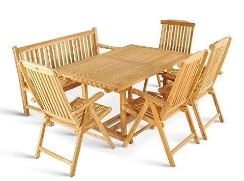XXS® Gartengruppe Caracas aus Teak-Holz, 6 teilig, Garten-Tisch mit Schirmloch, 1 x Garten-Bank Caracas, 4 x Hochlehner Aruba, Terrassen-Möbel aus Massiv-Holz, Gartenmöbel Oberfläche