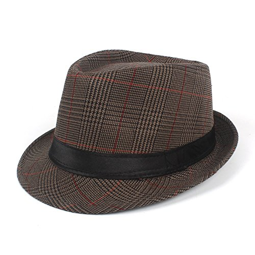 FeiNianJSh Sun Homburg Hut Für Männer Mode Baumwolle Plaid Fedora Hut Für Vater Gentleman Casual Caps Größe 58 cm (Farbe : Kaffee, Größe : 58 cm) (Baumwolle Plaid Fedora-hut)